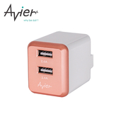 【Avier】4.8A USB 電源供應器(玫瑰金)