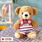 Hamee 日本製 手工 紅色海軍 吊帶褲 絨毛娃娃 玩偶禮物 泰迪熊 (棕色/S) 640-199003