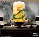 INPHIC-中式古典手繪國畫布藝吊燈仿古茶樓酒店客廳臥室書房餐廳仿羊皮燈-荷花直徑20x30cm_S3081C