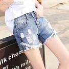 休閒短褲21高腰牛仔短褲女夏季薄款新款寬鬆顯瘦破洞熱褲子闊腿百搭韓版 快速出貨