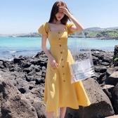 很仙的法國小眾桔梗裙2019新款海邊度假chic溫柔顯瘦露背連身裙夏