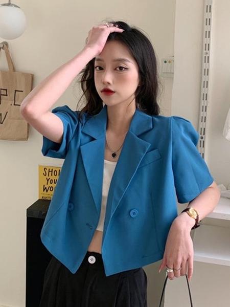 高級感西裝外套女夏季2021新款小個子設計感短款泡泡袖小西服上衣