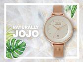 【時間道】NATURALLY JOJO  都會簡約仕女腕錶 / 白面玫瑰金米蘭帶(JO96927-80R)免運費