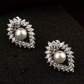 耳環 925純銀珍珠-大方流行生日情人節禮物女耳針2色73gt76[時尚巴黎]