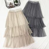 裙子春季新款女夏蛋糕裙半身裙網紗裙高腰仙女中長款蕾絲長裙