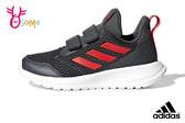 adidas ALTARUN 中童 輕量慢跑鞋 魔鬼氈 透氣運動鞋 R9310#灰紅◆OSOME奧森鞋業