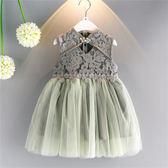 女童旗袍連身裙童裝新品洋氣復古民族風蕾絲公主紗裙   居家物語