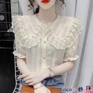 拼接襯衫 洋氣釘珠娃娃領襯衫女夏寬鬆蕾絲花邊拼接短袖設計感小眾雪紡上衣【618 狂歡】