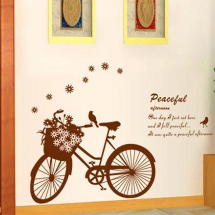 壁貼 DIY創意無痕 牆貼 貼紙【半島良品】-花朵腳踏車_AY7021