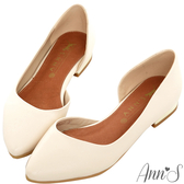 Ann'S成熟高雅-金跟側空尖頭平底包鞋-米白