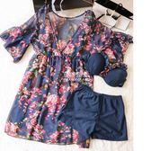 泳衣女遮肉顯瘦遮肚比基尼三件套分體裙式小胸聚攏韓國溫泉小香風『伊莎公主』