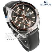 EDIFICE EFR S565L 1A 簡約風貌三眼計時碼錶皮帶錶男錶玫瑰金x 黑EFR S565L 1AVUDF CASIO 卡西歐