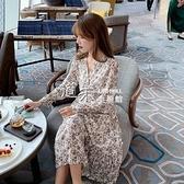 速發秋裝新款韓版女裝V領層次感碎花雪紡洋裝 【全館免運】
