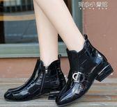 皮靴 短筒馬丁靴女英倫百搭大碼靴ins短靴漆皮粗跟機車靴 育心小賣鋪