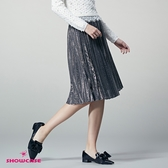 【SHOWCASE】銀蔥亮格紋百褶鬆緊腰及膝裙(銀)