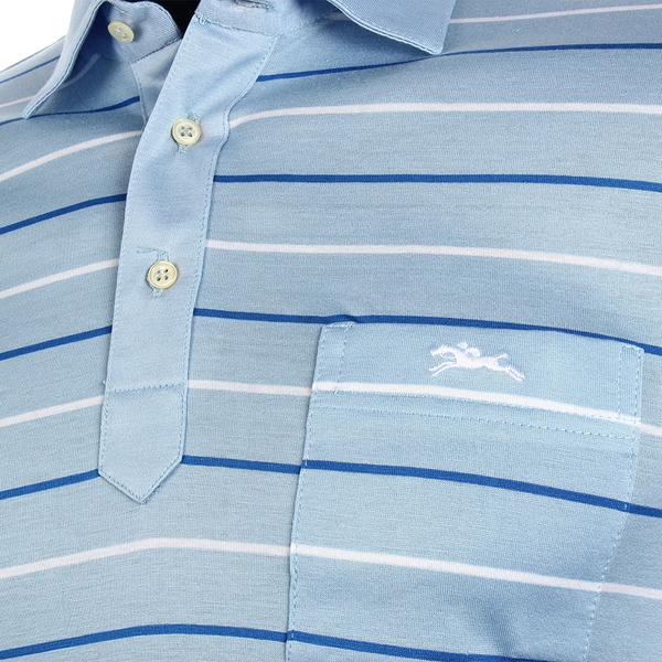 LONGCHAMP 經典純棉條紋短袖POLO衫(灰藍/白)179240-2