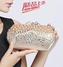 精致中式手包女名媛晚禮服包包花朵串珠手拿...