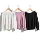 H2O 秋 後雪紡綁帶設計八分泡泡袖毛衣 - 黑/白/粉紫色 #1630012