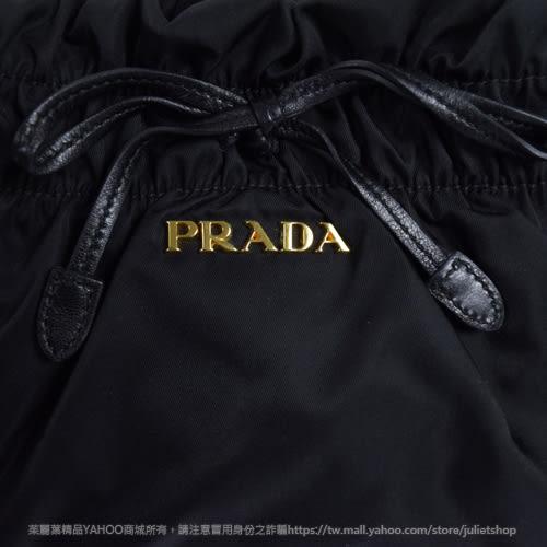 茱麗葉精品 二手精品 【8.9成新】PRADA 經典浮雕LOGO尼龍帆布肩背包.黑