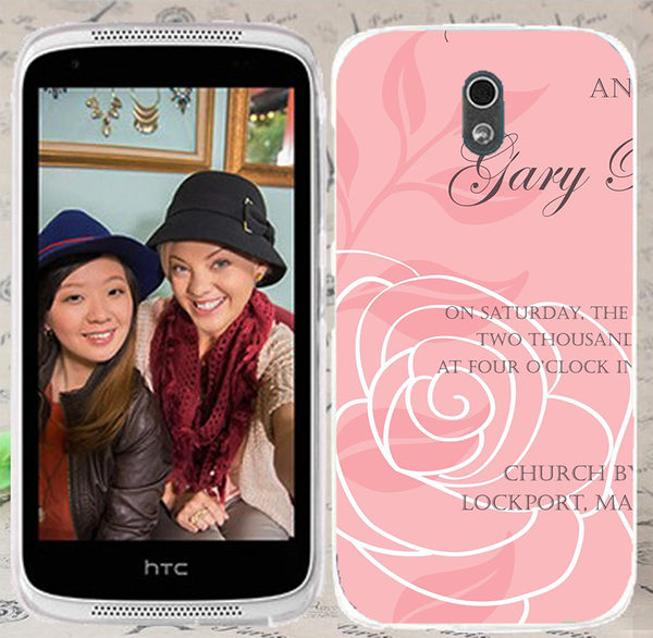 ♥ 俏魔女美人館 ♥ {粉色玫瑰*水晶硬殼} HTC Desire 526G+手機殼 手機套 保護套