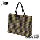 手提袋-編織袋(L)-黑黃金千鳥-01C...