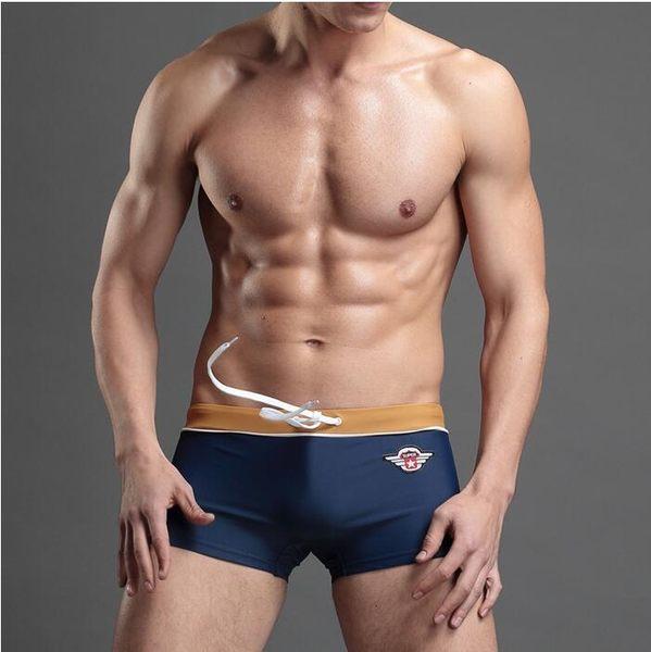 條紋男士泳褲 平角性感男泳褲 沙灘游泳褲溫泉泳褲【叢林之家】