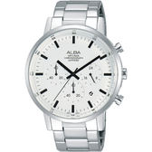 【僾瑪精品】ALBA 雅柏 簡約三眼計時腕錶-白/42mm/VD53-X296S(AT3D35X1)
