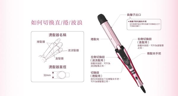 【TESCOM】負離子直捲波三用燙髮棒(IPW1650TW)
