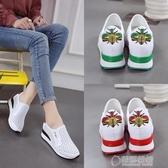 新款女韓版百搭厚底楔形休閒內增高板鞋   草莓妞妞
