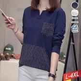 小V領直線條口袋前拼接上衣(2色)L~4XL【372442W】【現+預】☆流行前線☆