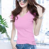 V領上衣純棉粉色短袖T恤女新款韓版百搭修身顯瘦雞心領純黑半袖體恤 衣櫥の秘密