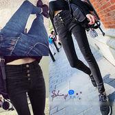 【V0660】shiny藍格子-極簡基調.修身四釦高腰鉛筆小腳牛仔褲