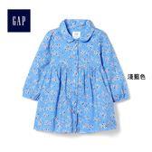 Gap女嬰兒 舒適碎花長袖洋裝 402807-淺藍色