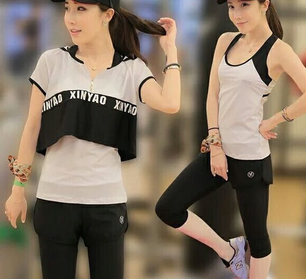 韓國春夏新款瑜伽服套裝套女短袖背心休閒運動跑步健身喻咖服   -cmx0044