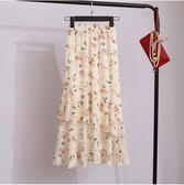 蛋糕裙 雪紡不規則半身裙女夏中長款碎花裙子港味魚尾裙蛋糕裙潮 爾碩 雙11