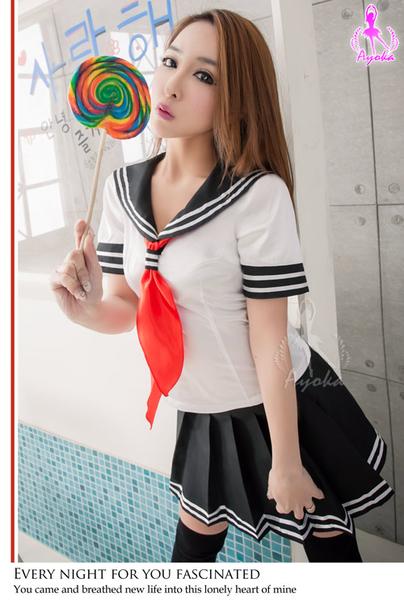 黑白色水手服三件式女學生 角色扮演服 學生制服 日本高校生 套裝 百褶裙 QUEEN情趣精品