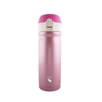 【等一個人咖啡】真空雙層內陶瓷保溫杯-彈蓋粉紅300ml