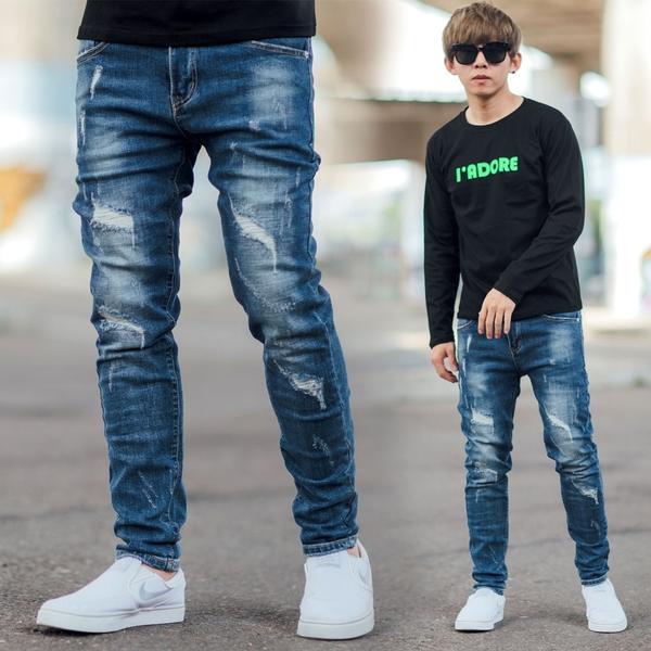 牛仔褲 抓破抽鬚補丁塊狀刷白合身彈性牛仔褲【NB0929J】