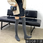 長靴女 過膝長靴女秋冬針織彈力襪靴粗跟圓頭高筒瘦瘦靴ins百搭 快速出貨