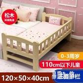 兒童床帶男孩女孩公主單人床實木小邊床兒童床加寬床大床拼接床 HX7056【易購3C館】