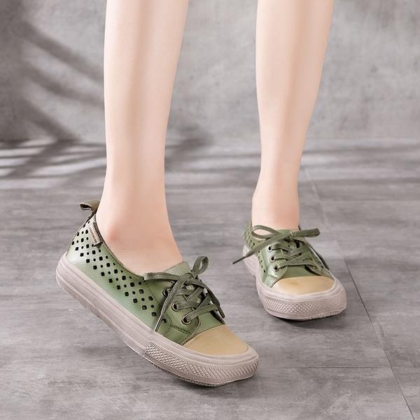 真皮手工女鞋 鏤空透氣平底鞋 方頭系帶休閒鞋/4色-夢想家-標準碼-0412