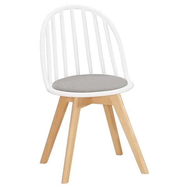 【森可家居】伊蒂絲造型椅(白)(布)(實木) 8CM1039-9 休閒椅 商業椅