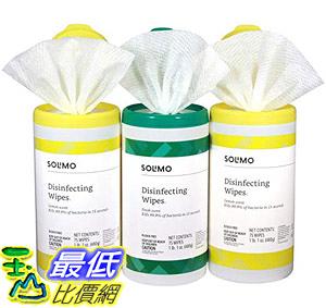 [8美國直購] 防菌擦拭布共225入 Amazon Brand - Solimo Disinfecting Wipes, Lemon Scent Fresh Scent (Pack of 3)