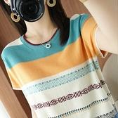 棉麻條紋短袖T恤純棉撞色彩虹條紋針織衫顯瘦上衣TBF-19A.A1257 1號公館