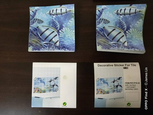 金德恩 台灣製造 一組32入 磁磚裝飾拼圖貼紙 - 10X10公分 隨機出貨