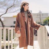 森系毛呢外套女中長款2018秋冬季新款氣質韓版學生流行呢子大衣女「爆米花」