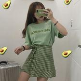 套裝 兩件式 2019網紅套裝夏裝新款韓版洋氣上衣 格子半身裙法式小眾兩件套女 快速出貨