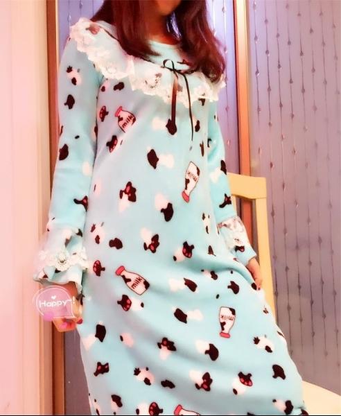 [協貿國際]秋冬法蘭絨雙面珊瑚絨寬鬆學院風睡裙睡衣家居服