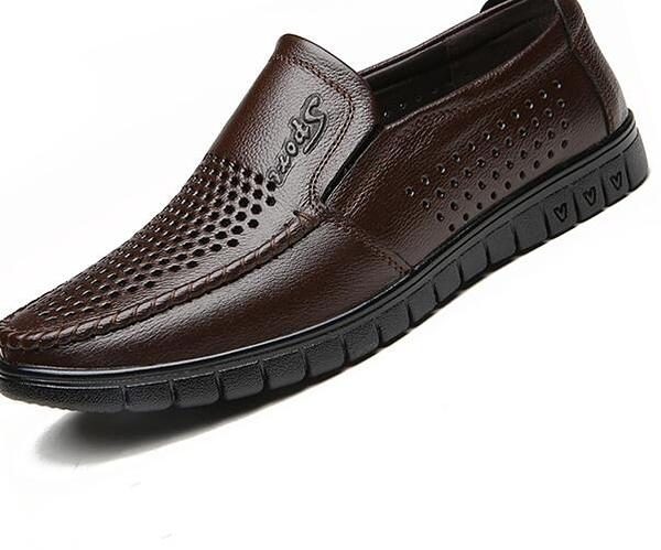 皮涼鞋男士爸爸皮鞋透氣鏤空
