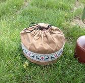 52bushcraft戶外不銹鋼水壺套油蠟帆布水壺收納包燒水壺帆布包